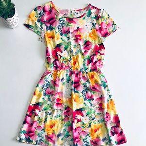 Gap Bright Multi Floral Flowy Short Sleeve Dress